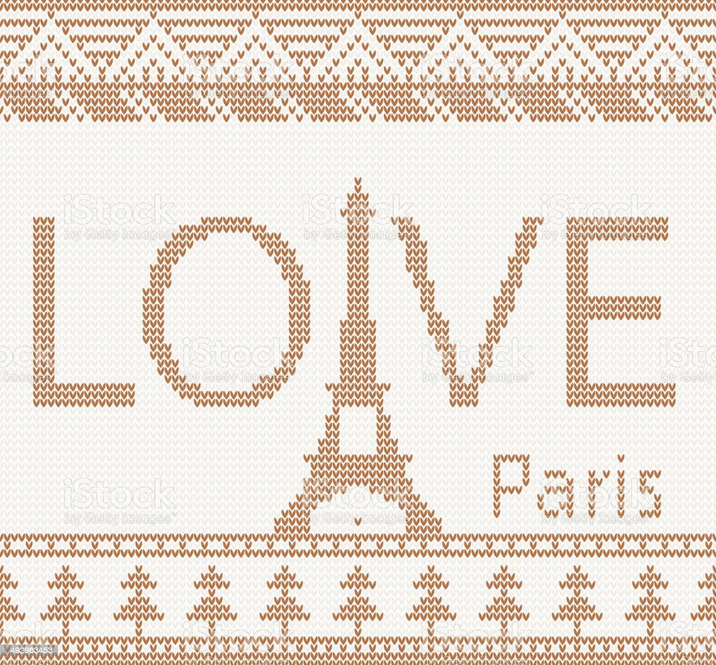 Ilustración de Tejido Sin Costura Patrón Con La Torre Eiffel y más ...