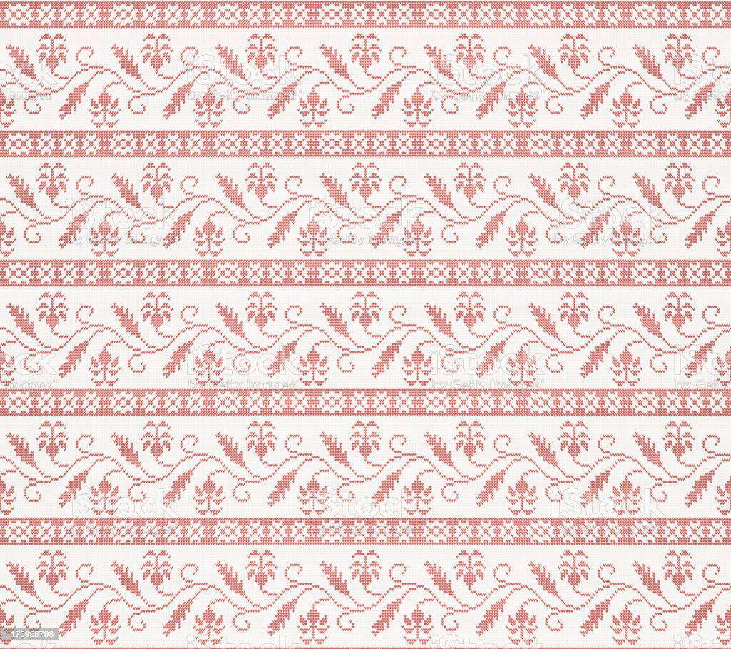 seamless knitted pattern with red flower royalty-free stock vector art