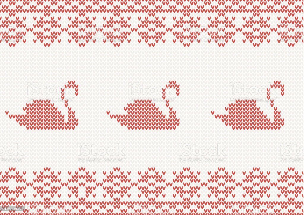 seamless knitted pattern with swan royalty-free stock vector art
