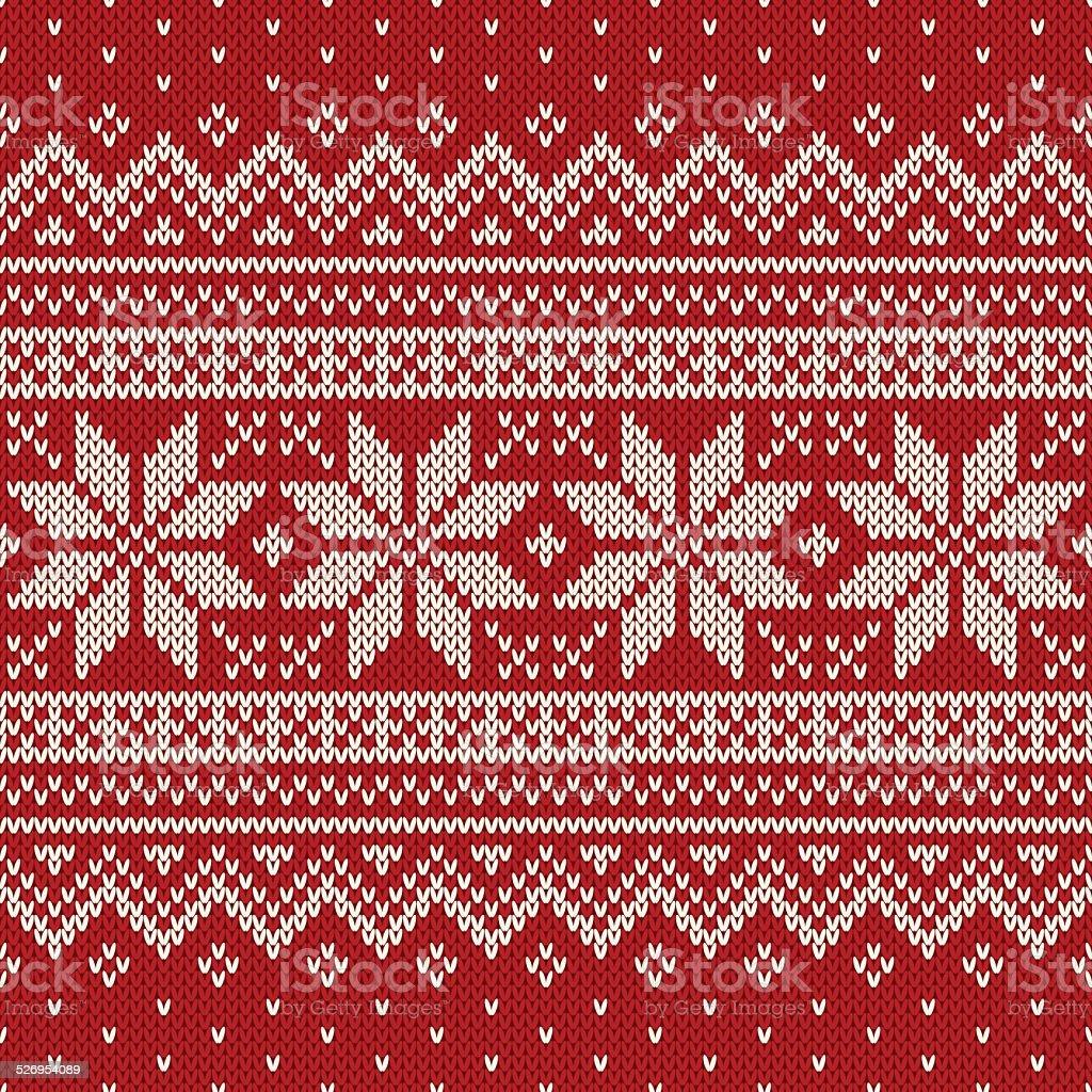 Seamless knitted pattern. Wool Sweater Design vector art illustration