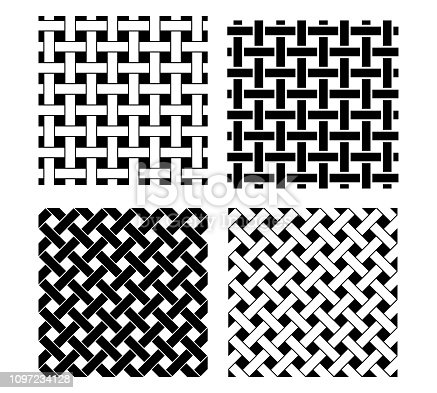 Seamless knot pattern in black and white, vector art