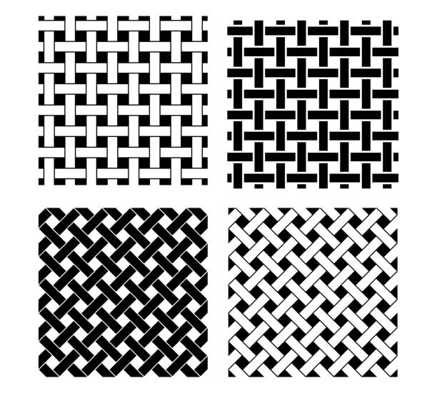 Seamless knot pattern in black and white, vector Seamless knot pattern in black and white, vector art wicker stock illustrations