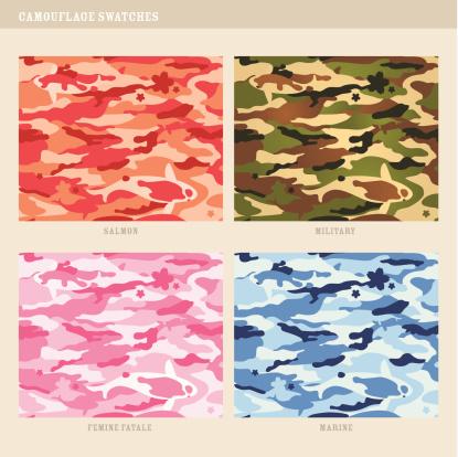 Seamless koi fish camouflage swatches