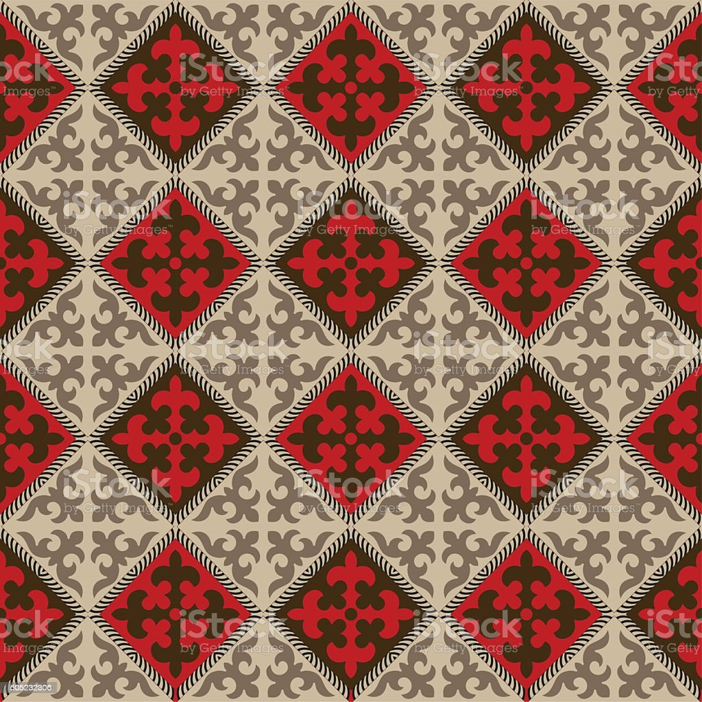 Seamless Kyrgyz national ornament pattern