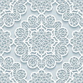 Seamless lace texture, stencil pattern with round line ornaments, paper cut background in neutral color