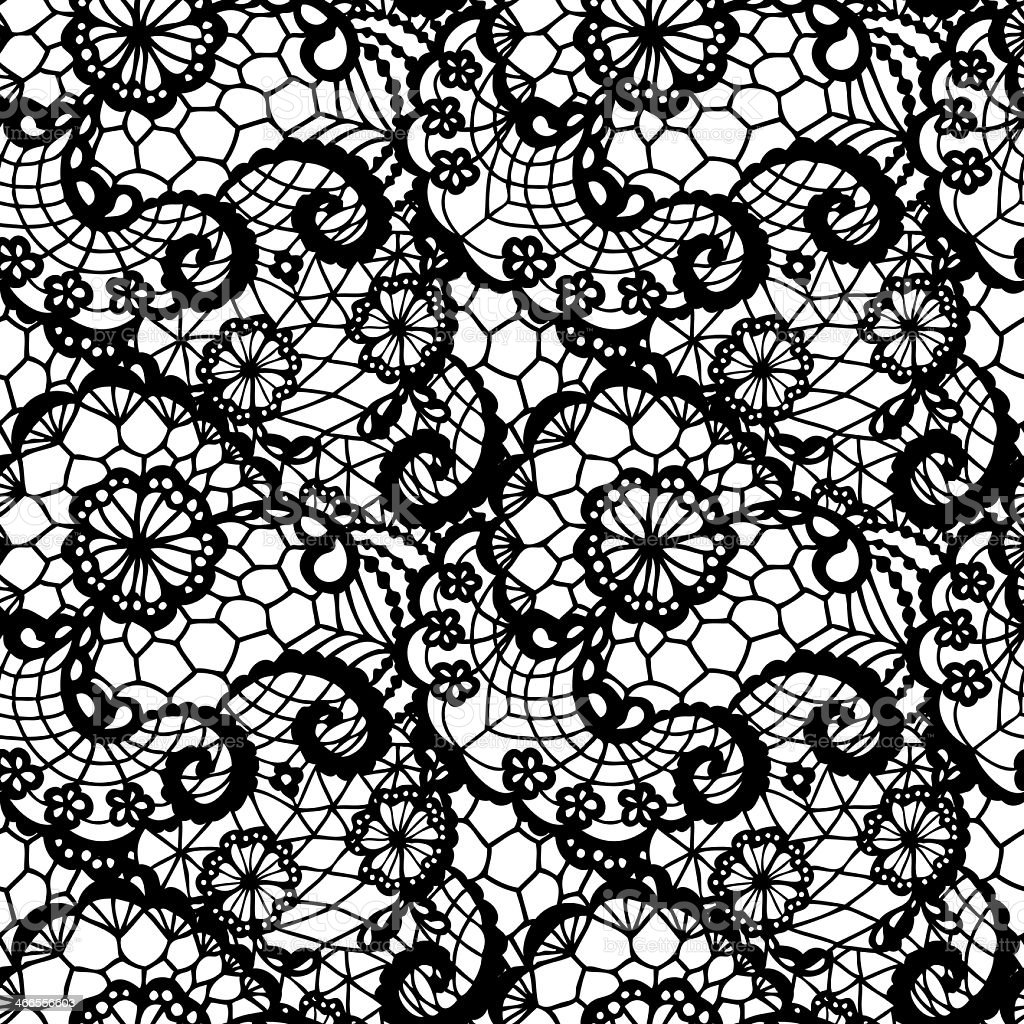 Seamless lace pattern with flowers vector art illustration