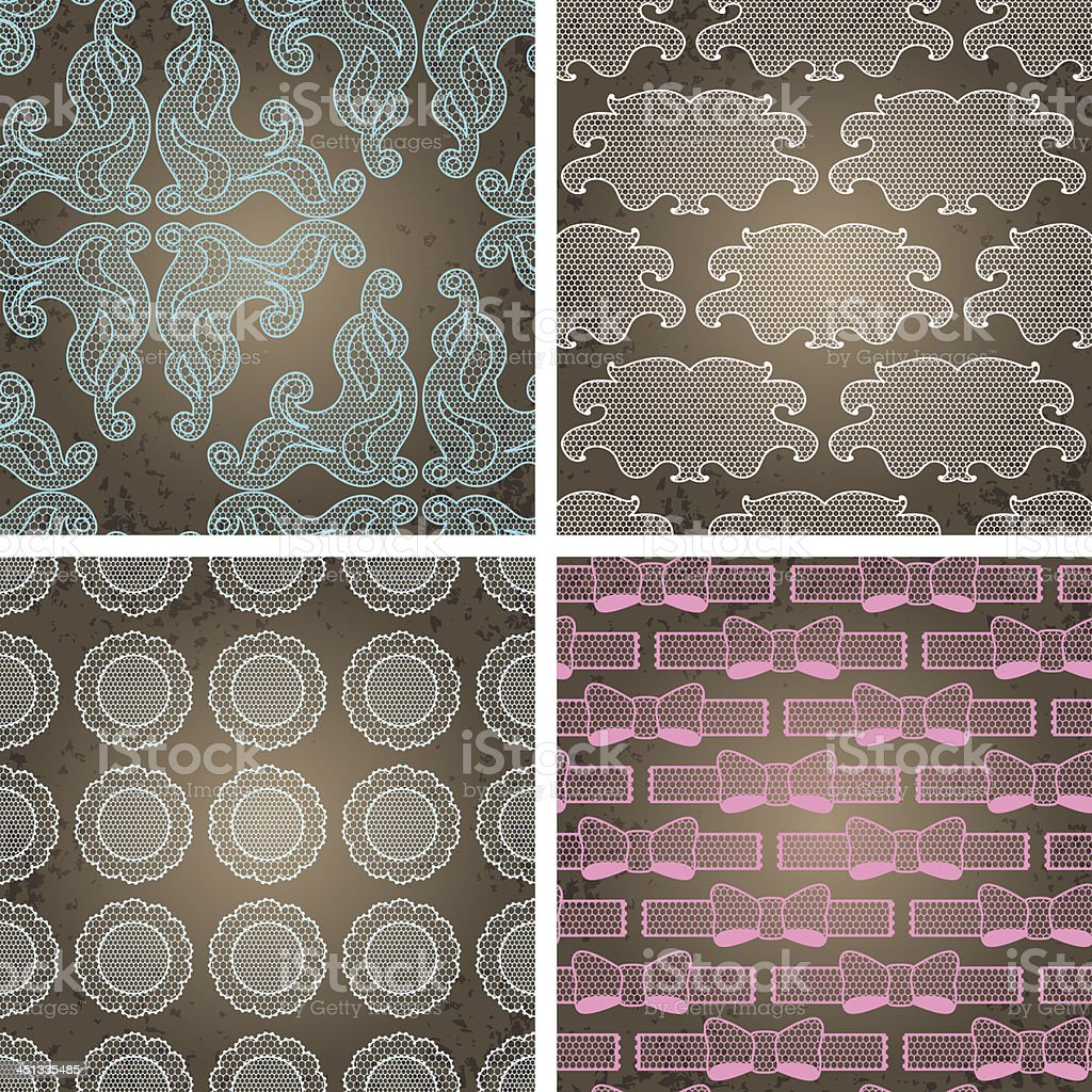 Seamless lace patterns on grunge texture. royalty-free stock vector art