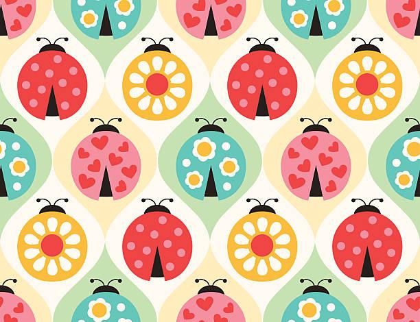 Bezszwowe Biedronka owadów wzór – artystyczna grafika wektorowa