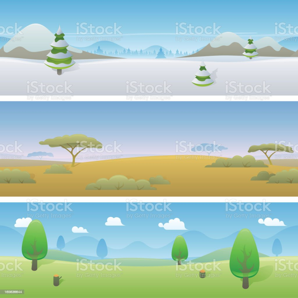 Seamless Landscape Banners royalty-free stock vector art