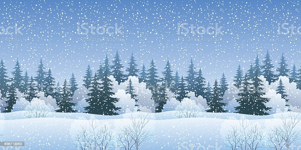 Seamless Landscape with Christmas Trees vector art illustration