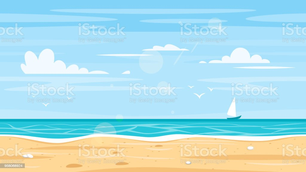 3922bd833aa6d Paisaje sin fisuras con la orilla del mar ilustración de paisaje sin  fisuras con la orilla