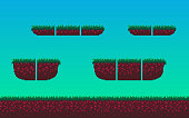 Pixel art seamless landscape with soil and grass tile elements for game design.