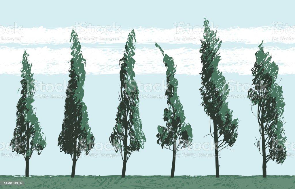Seamless landscape with trees on blue sky backdrop - illustrazione arte vettoriale