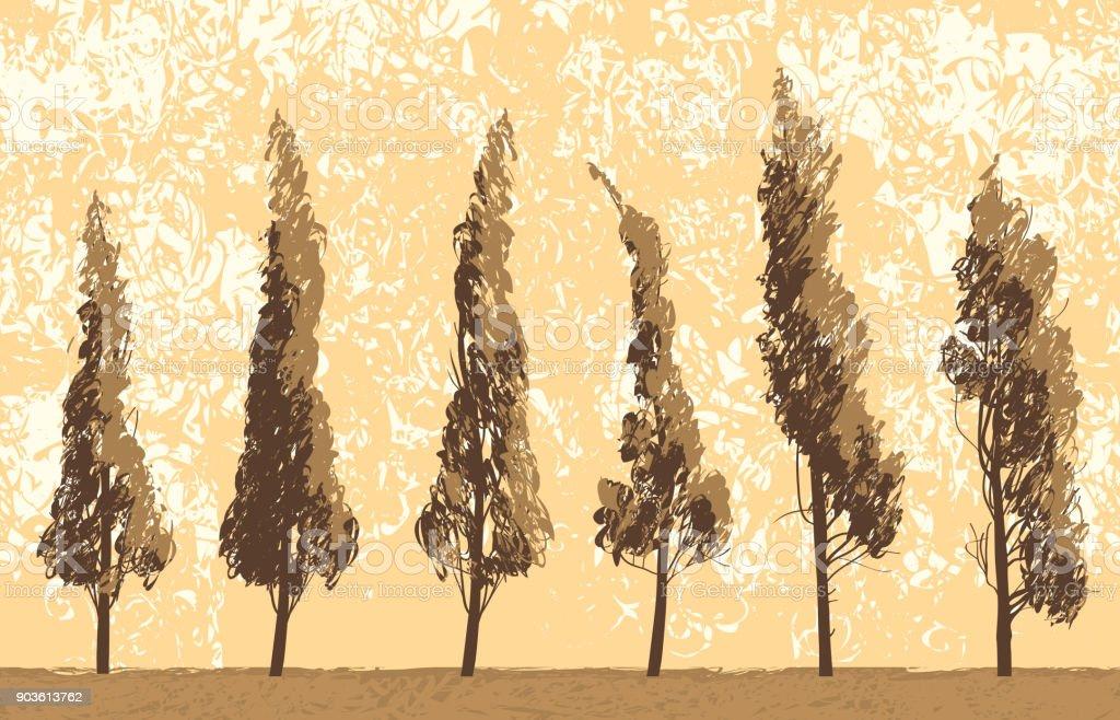 Seamless landscape with trees on sky backdrop - illustrazione arte vettoriale
