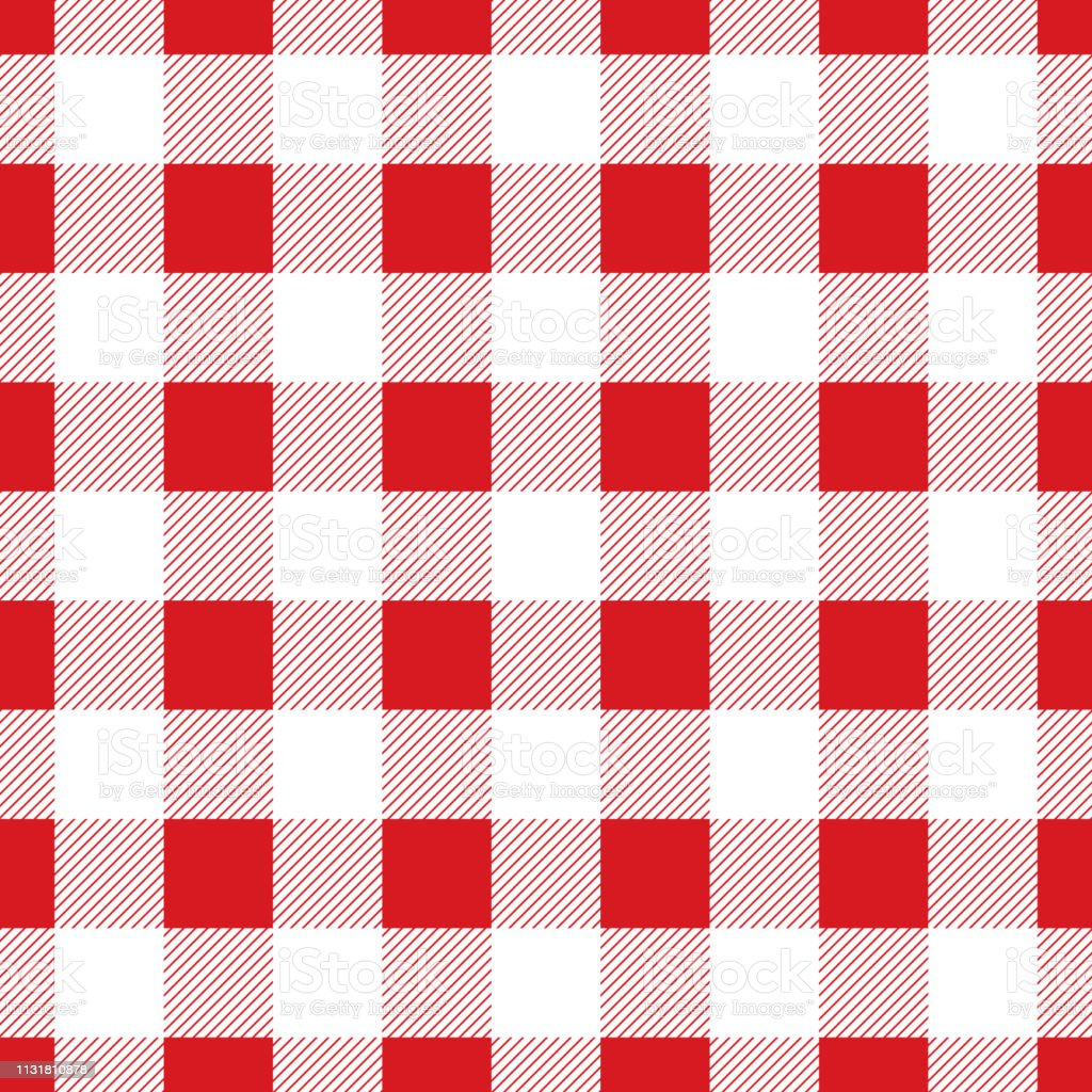 Seamless large red check pattern. Vintage restaurant check tablecloth...