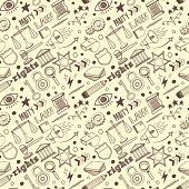 Seamless vector background contains doodle law & order drawings.
