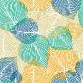 Seamless leaf background, vector illustration.
