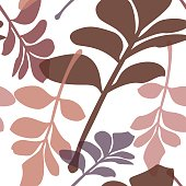 Seamless vector illustration leaves pattern in delicate colors with transparencies applied.