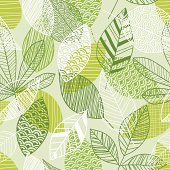 This vector illustration depicts a seamless leaf pattern that features a textured effect in the retro revival theme.  This wallpaper pattern includes line art depicting leaves, foliage, branches and scribble lines to create a contemporary imagery.  The image has a beige background. There are three different leaf styles, and the leaves are colored in white, medium green and a lighter shade of yellow-green.  The leaves are filled in with different patterns, including vertical lines, horizontal lines, scallop designs and cross-hatching.  The lines in the illustration are clean, crisp, and well-defined.