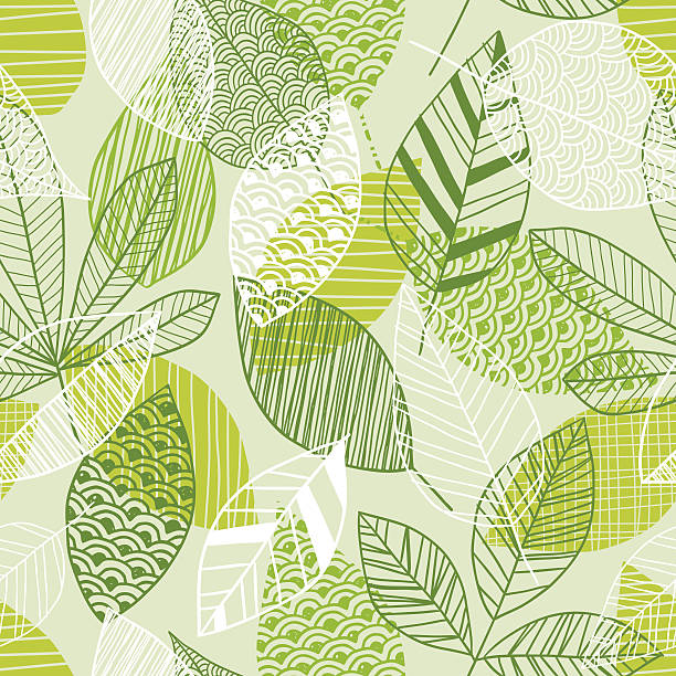 seamless leaf pattern in shades of green - vintage nature stock illustrations, clip art, cartoons, & icons