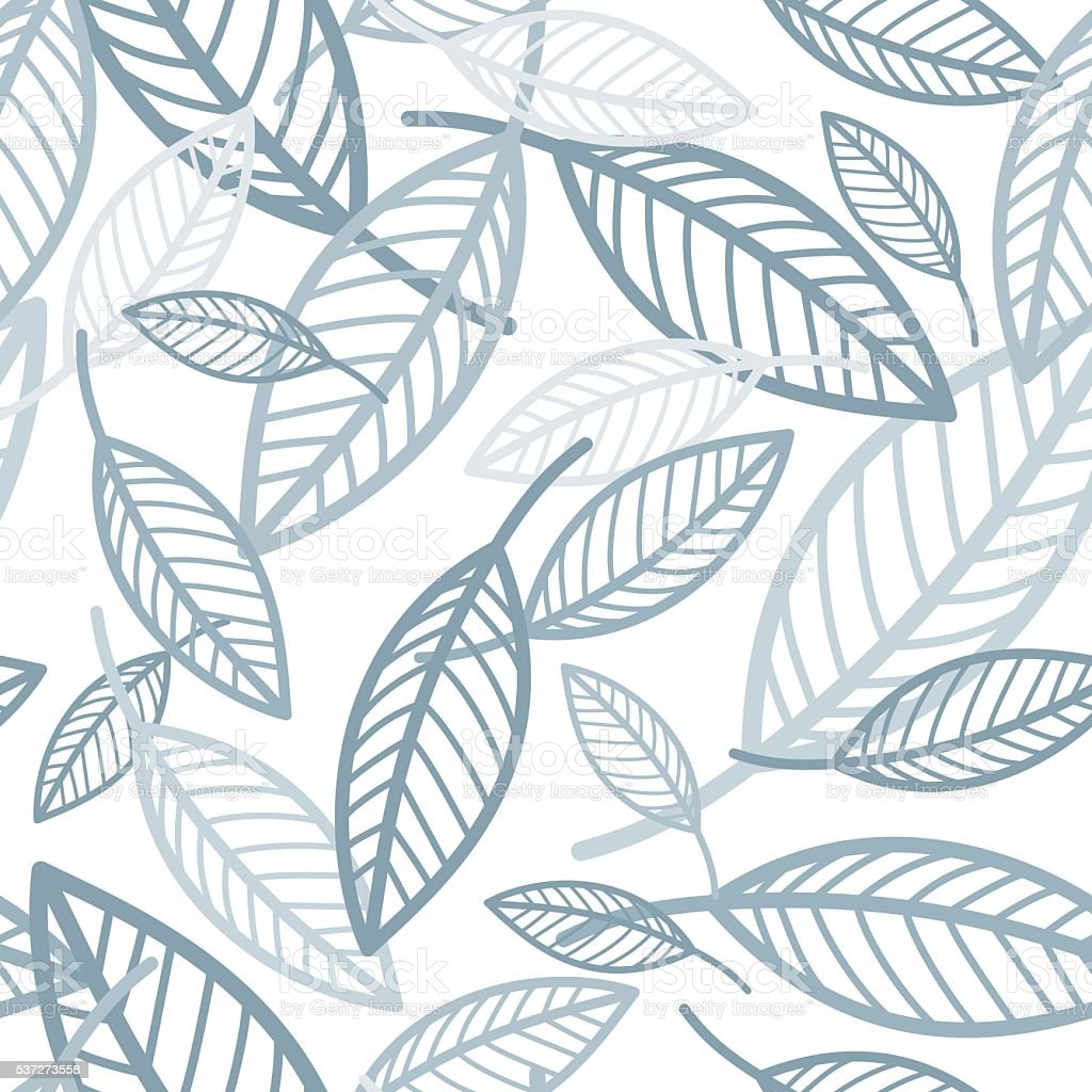 Seamless leaf pattern vector art illustration