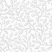 Seamless leaves background. Vector seamless pattern with graphic gray leaves for textile print, page fill, wrapping paper, web design