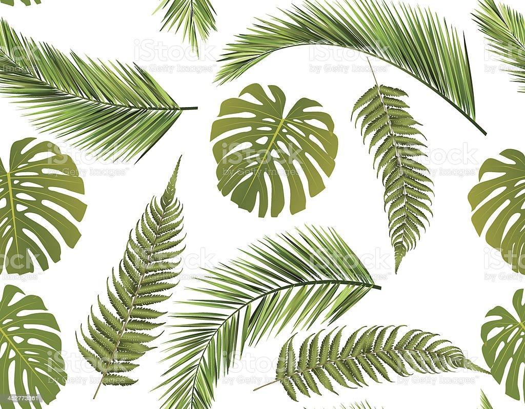 seamless leaves background vector art illustration