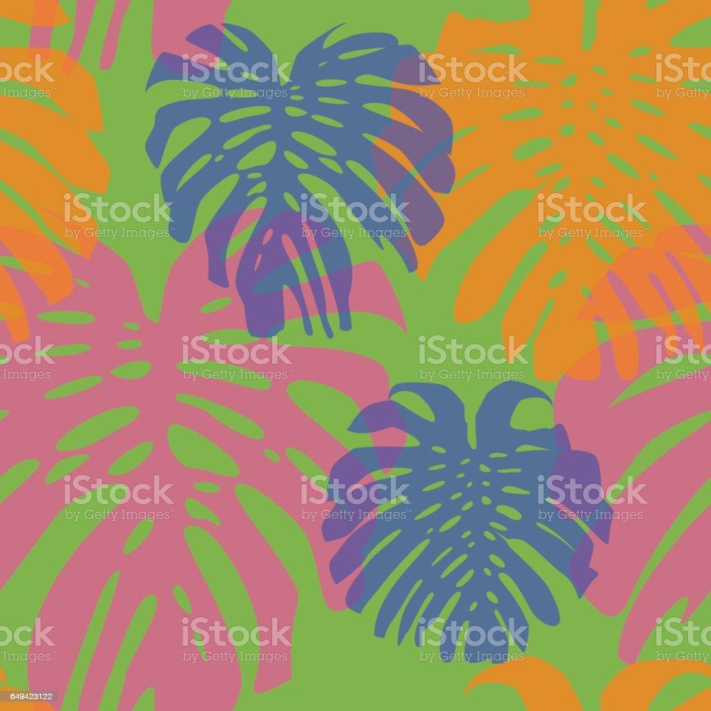 Seamless leaves pattern 5 vector art illustration