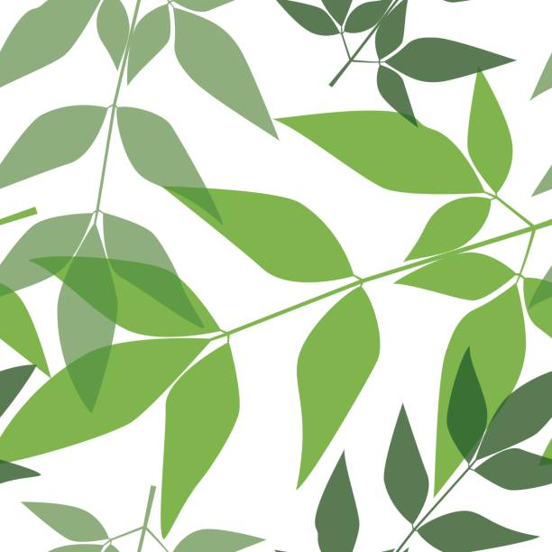 Seamless leaves pattern 8 vector art illustration