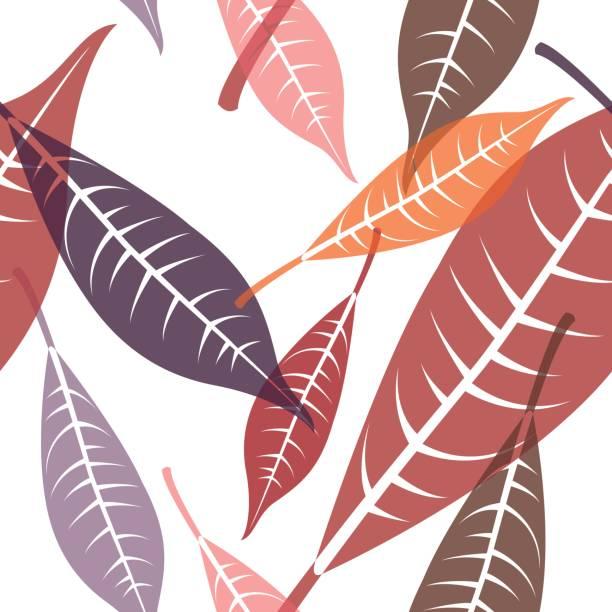 Seamless leaves pattern 9 vector art illustration