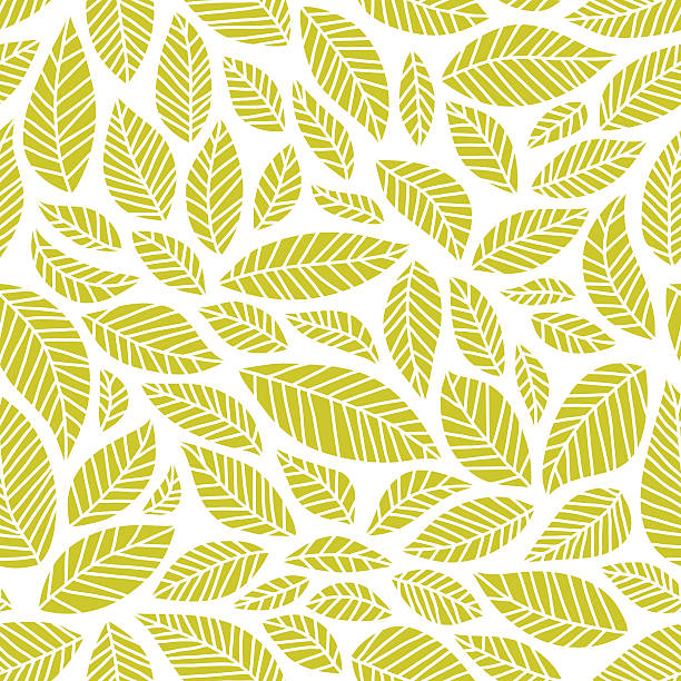 Seamless leaves pattern Seamless pattern of handdrawn leaves natural pattern stock illustrations
