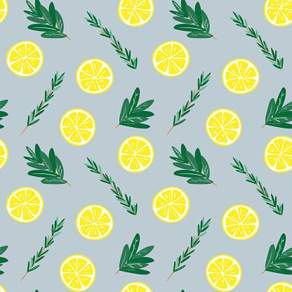 Seamless lemon and herbs pattern illustration, blue background
