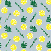 Seamless lemon and herbs pattern illustration, blue background. Perfectly usable for all surface pattern projects.
