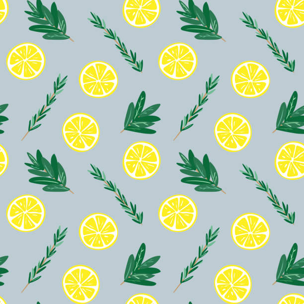 Seamless lemon and herbs pattern illustration, blue background vector art illustration