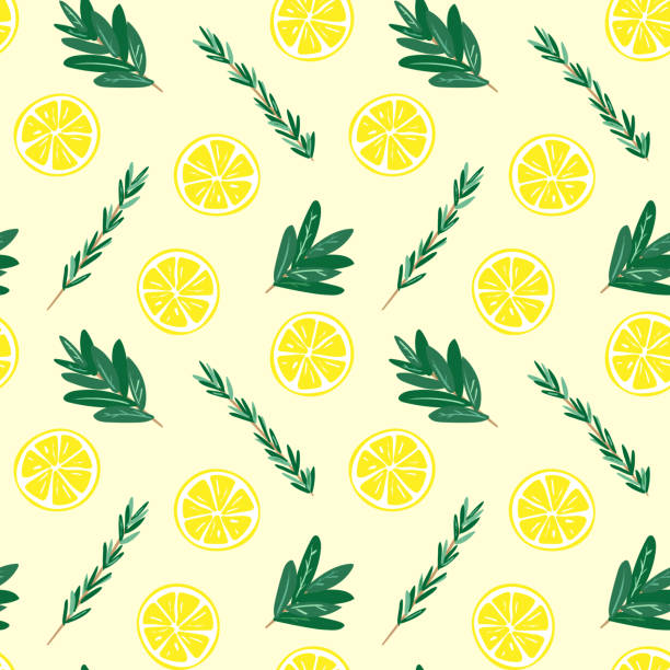 Seamless lemon and herbs pattern illustration vector art illustration