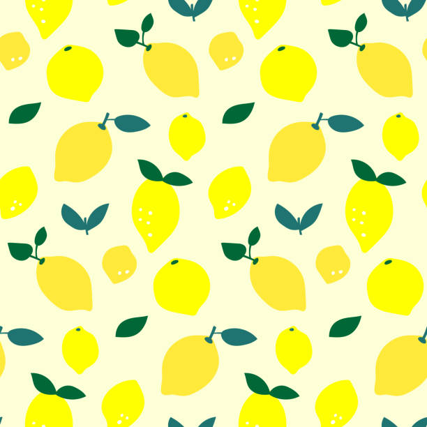 Seamless lemon fruit pattern illustration, yellow background vector art illustration