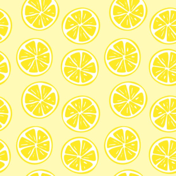 Seamless lemon slice pattern illustration vector art illustration