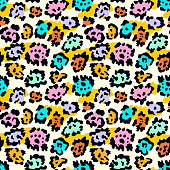 Seamless leopard fur pattern. Vector animal skin colorful background.