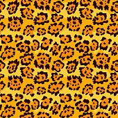 Seamless leopard fur pattern. Vector animal skin background.