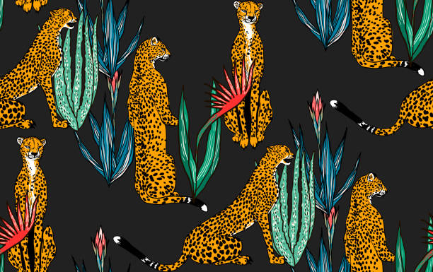 seamless leopard in different poses pattern. vector illustration - leopard texture stock illustrations