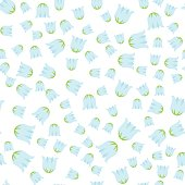 Seamless pattern with flowers,  lily of the valley on white background. For print, wrapping or wallpaper.