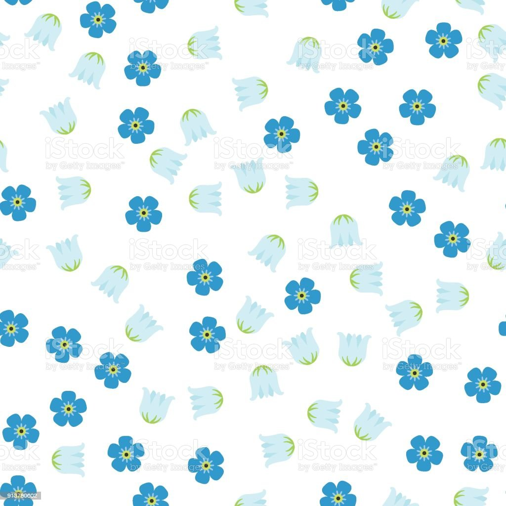 Seamless, lily of the valley, forget-me-not 1-2 vector art illustration