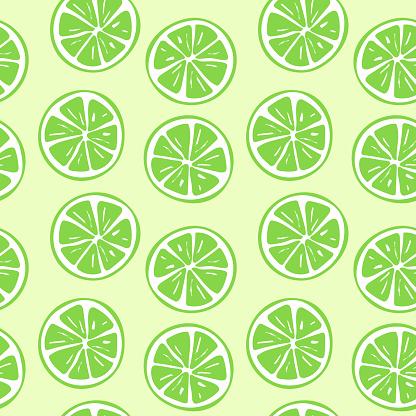 Seamless lime slice pattern illustration