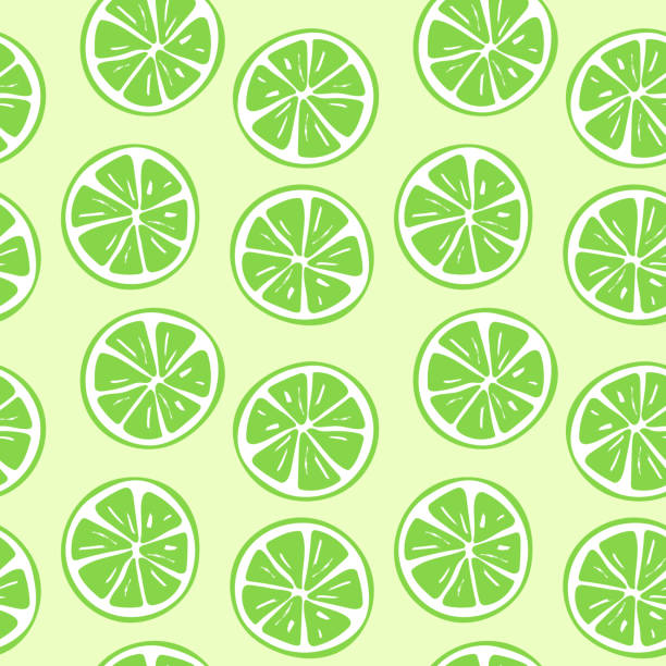 Seamless lime slice pattern illustration vector art illustration