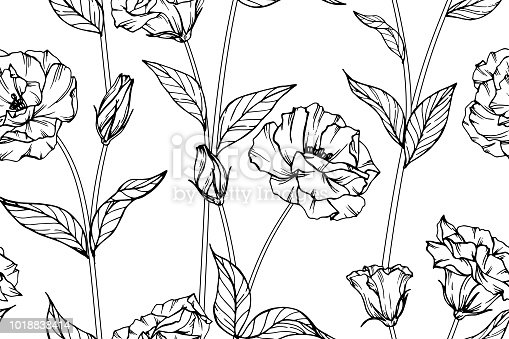 Seamless lisianthus flower pattern background black and white with seamless lisianthus flower pattern background black and white with drawing line art illustration stock vector art more images of abstract 1018838414 mightylinksfo