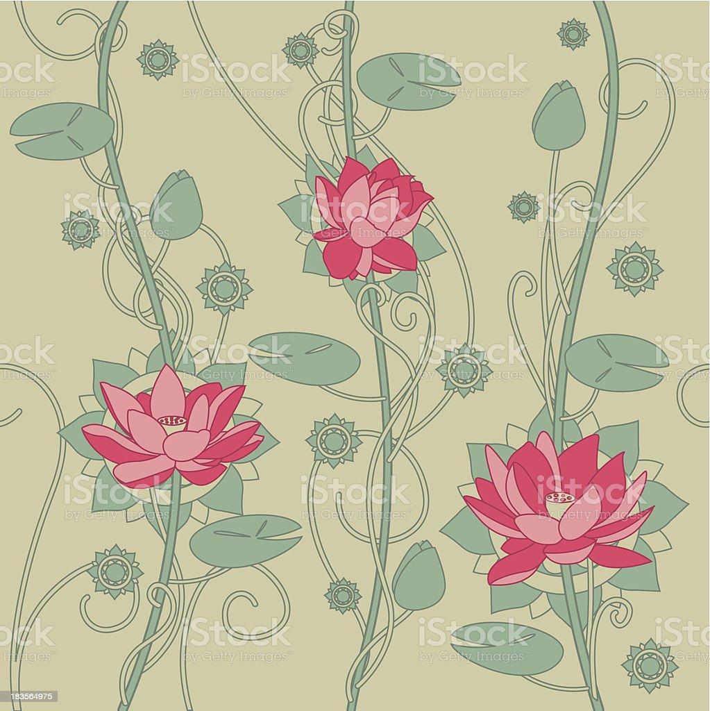 Seamless lotus flower background royalty-free stock vector art