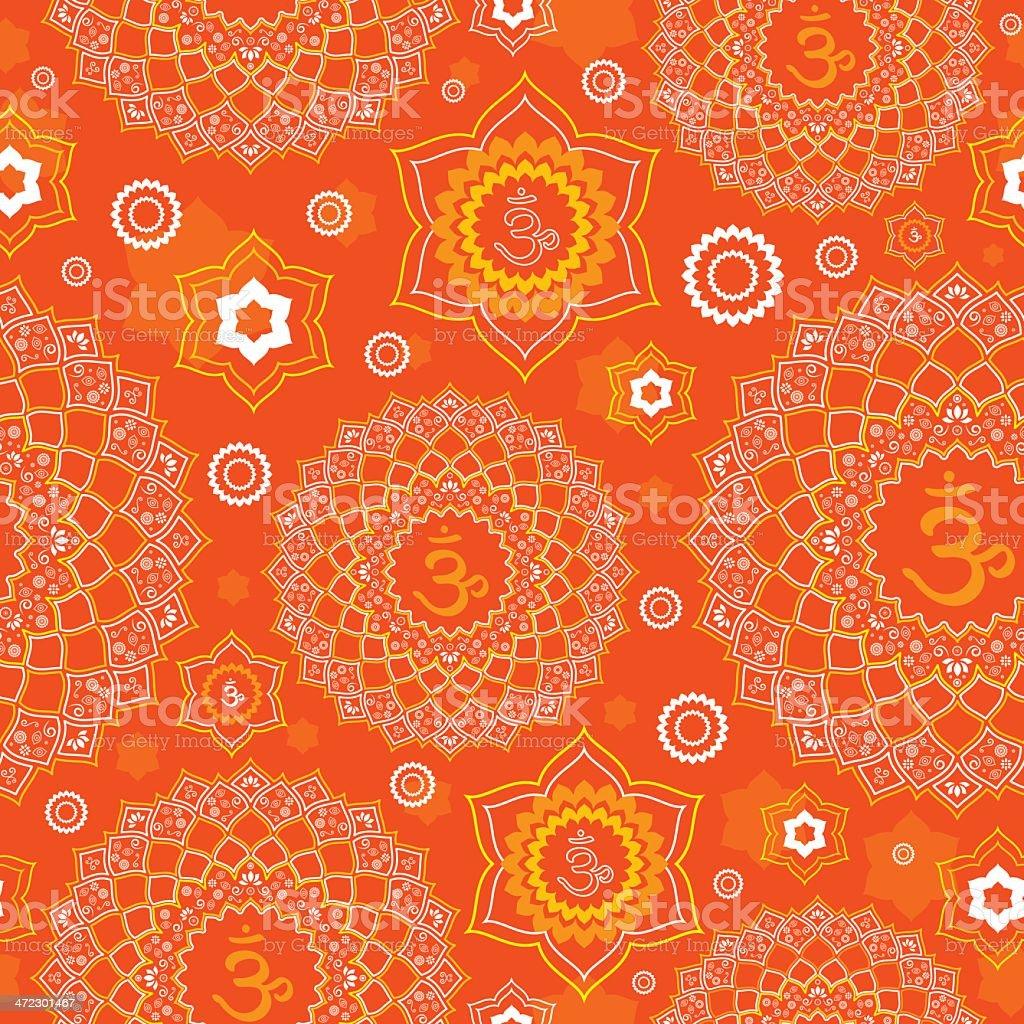 Seamless Lotus OM Pattern vector art illustration