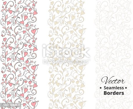 istock Seamless love borders, wedding floral pattern with hearts. Tileable, can be infinitely repeated 1001406602