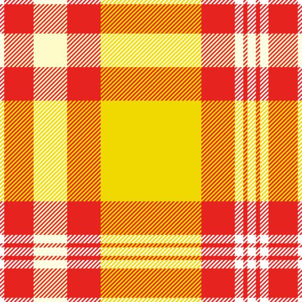 ilustraciones, imágenes clip art, dibujos animados e iconos de stock de patrón de tela escocesa de madras sin costuras en amarillo, rojo y blanco. - fondos de franela
