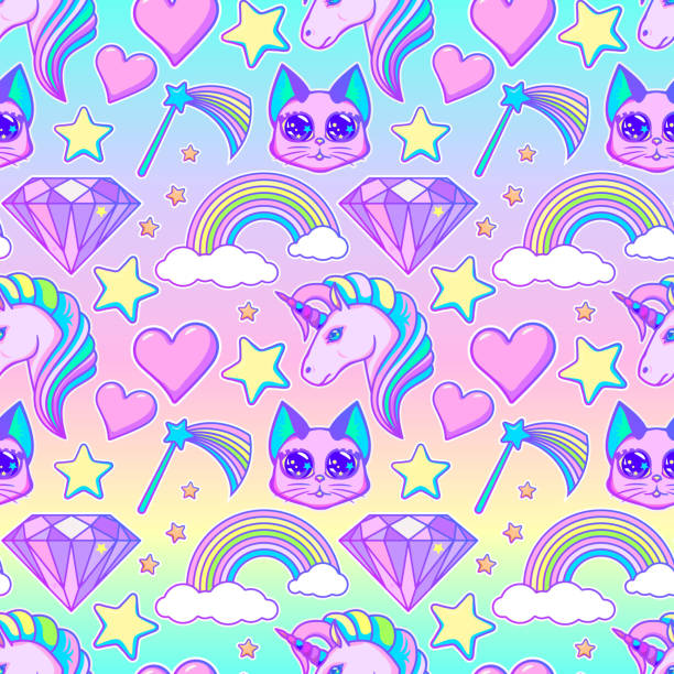 Seamless magical pattern Seamless magical pattern with a rainbow and a unicorn. Baby pattern goth stock illustrations